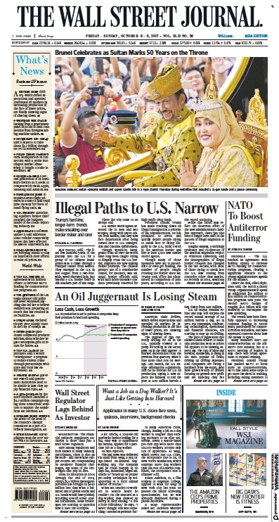 Front page of The Wall Street Journal Asia newspaper from USA