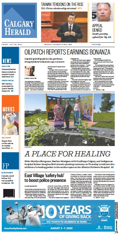 Front page of Calgary Herald newspaper from Canada