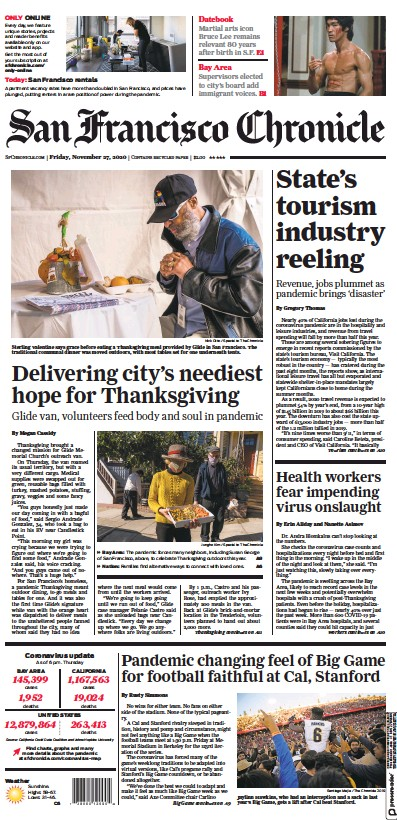 Front page of San Francisco Chronicle newspaper from USA