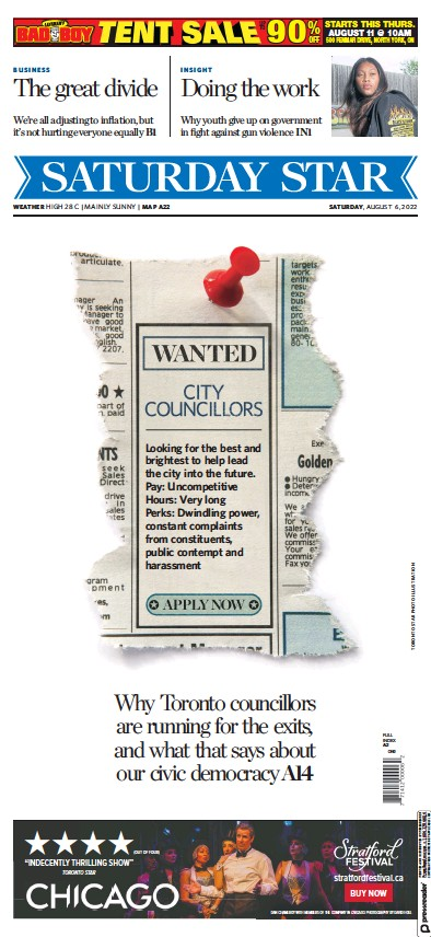 Front page of Toronto Star newspaper from Canada