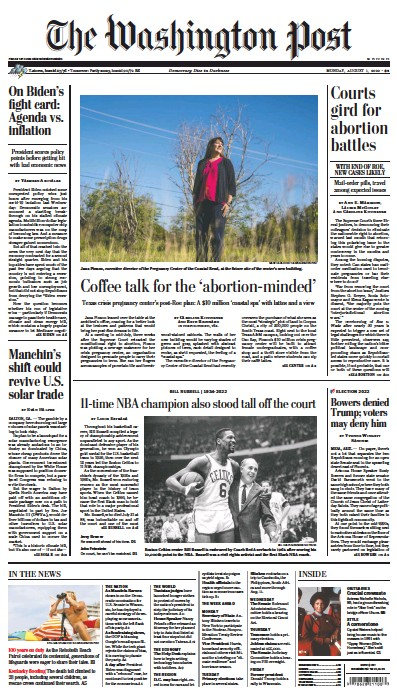 Front page of Washington Post newspaper from USA
