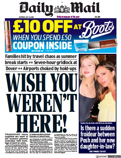 Front page of Daily Mail newspaper from UK