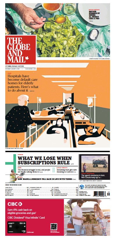 Front page of Globe and Mail newspaper from Canada