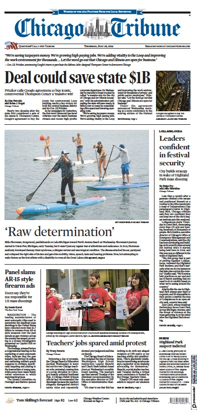 Front page of Chicago Tribune newspaper from USA