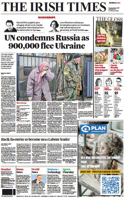 Front page of The Irish Times newspaper from Ireland
