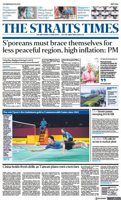 Front page of The Straits Times newspaper from Singapore