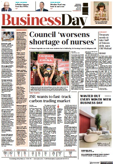 Front page of Business Day (South Africa) newspaper from South Africa
