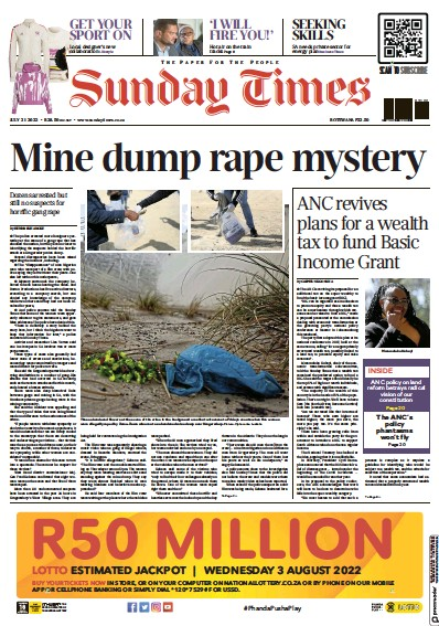 Front page of Sunday Times of Johannesburg newspaper from South Africa