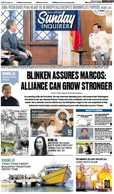 Front page of Philippine Daily Inquirer newspaper from Philippines