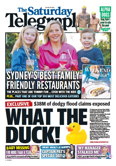 Front page of The Daily Telegraph (Sydney) newspaper from Australia