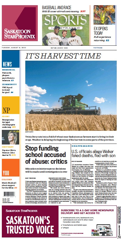 Front page of The StarPhoenix Saskatoon newspaper from Canada