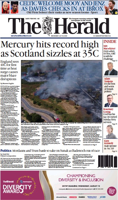 Front page of The Herald newspaper from Scotland
