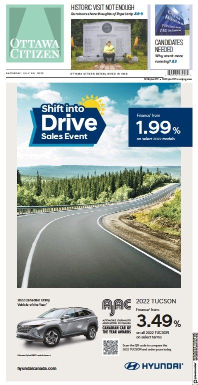 Front page of Ottawa Citizen newspaper from Canada