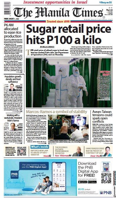 Front page of Manila Times newspaper from Philippines