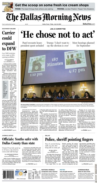 Front page of The Dallas Morning News newspaper from USA