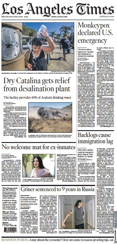 Front page of Los Angeles Times newspaper from USA