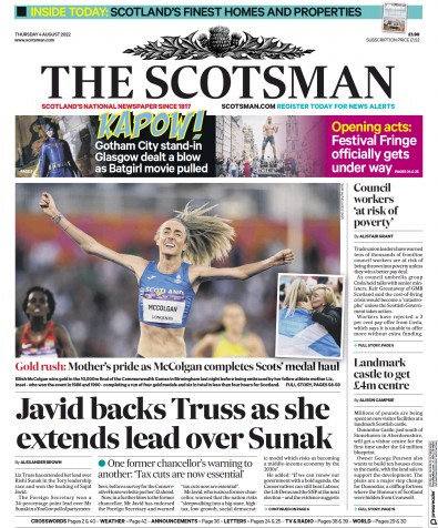 Front page of The Scotsman newspaper from Scotland