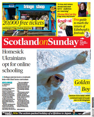 Front page of Scotland on Sunday newspaper from Scotland