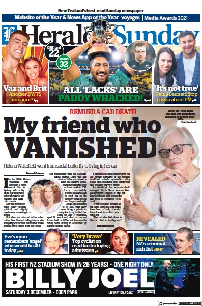 Front page of Herald on Sunday (New Zealand) newspaper from New Zealand