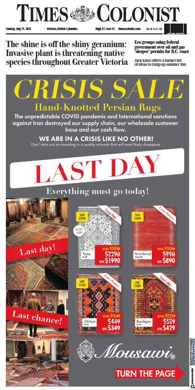 Front page of Times-Colonist Victoria newspaper from Canada