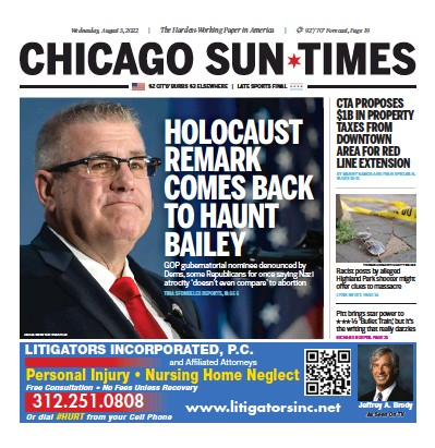 Front page of Chicago Sun-Times newspaper from USA
