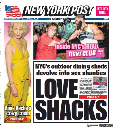 Front page of New York Post newspaper from USA