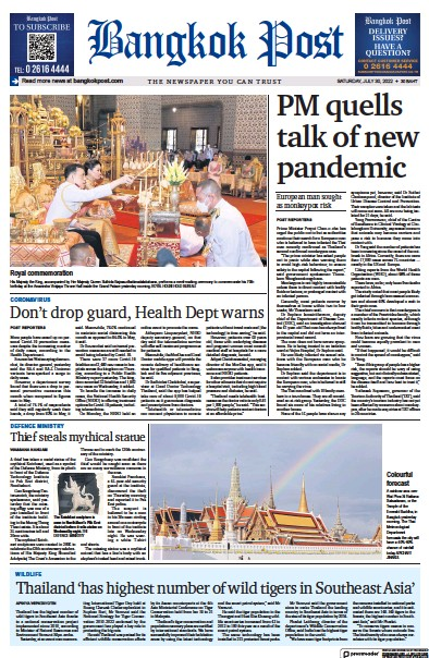 Front page of Bangkok Post newspaper from Thailand