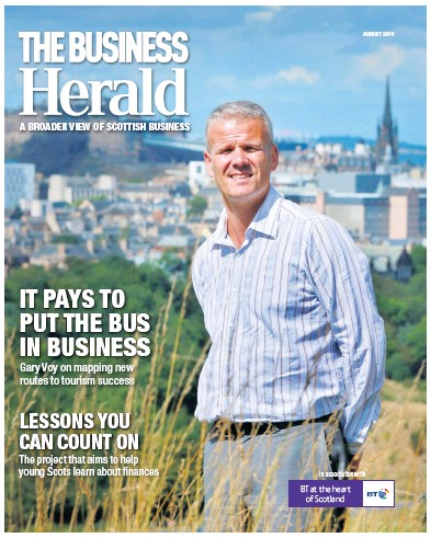 Front page of The Herald Business newspaper from Scotland
