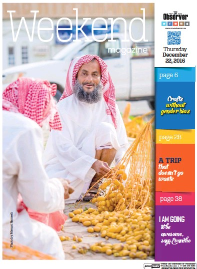 Front page of Oman Observer Weekend newspaper from Oman