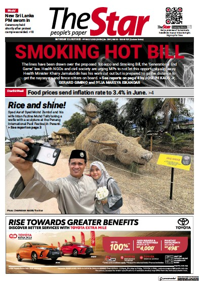 Front page of The Star Malaysia newspaper from Malaysia