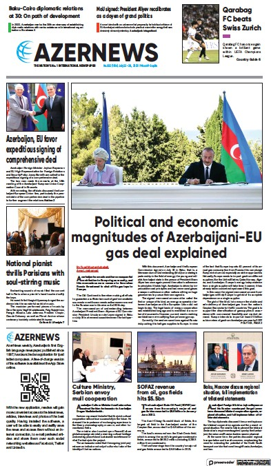 Front page of Azer News newspaper from Azerbaijan