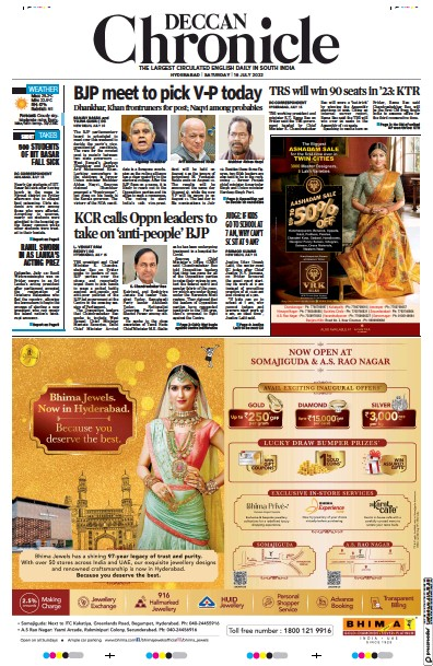 Front page of Deccan Chronicle newspaper from India