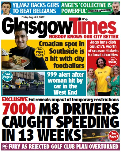 Front page of Evening Times Online newspaper from Scotland