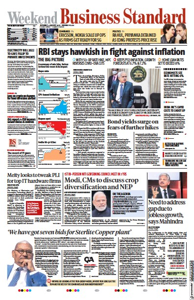 Front page of Business Standard newspaper from India