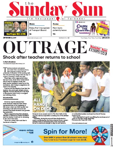 Front page of Sun (Barbados) newspaper from Barbados