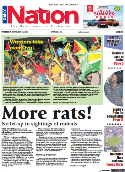 Front page of Daily Nation (Barbados) newspaper from Barbados