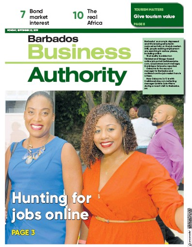 Front page of Barbados Business Authority newspaper from Barbados