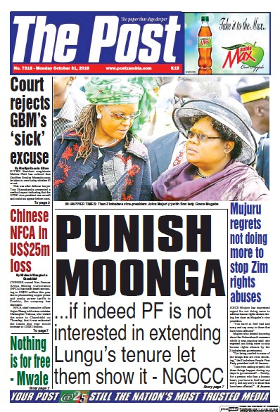 Front page of The Post (Zambia) newspaper from Zambia