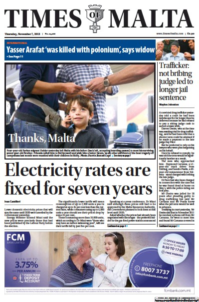 Front page of The Times of Malta newspaper from Malta