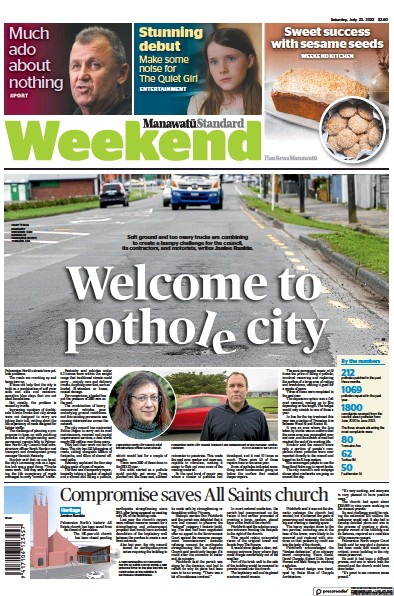 Front page of Manawatu Standard newspaper from New Zealand