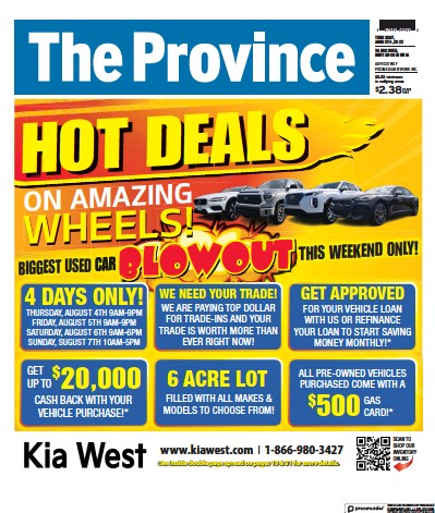 Front page of The Province (Vancouver) newspaper from Canada