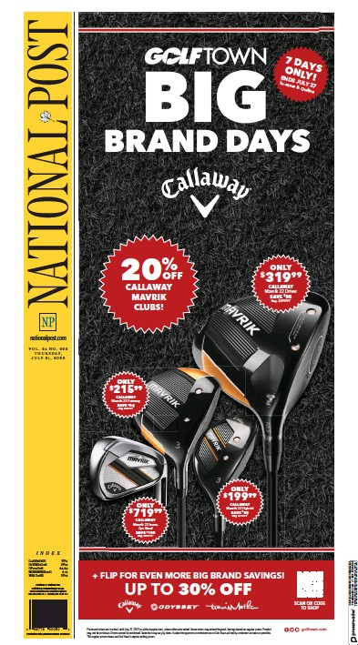 Front page of National Post (National Edition) newspaper from Canada