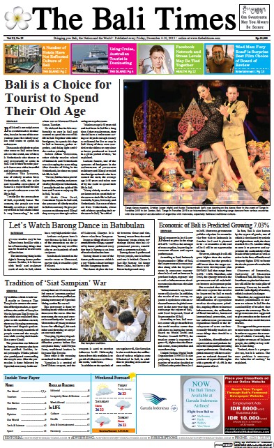 Front page of The Bali Times newspaper from Indonesia