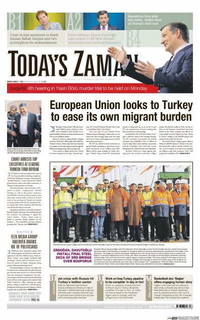 Front page of Today's Zaman newspaper from Turkey