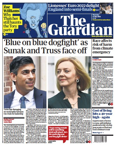 Front page of The Guardian newspaper from UK
