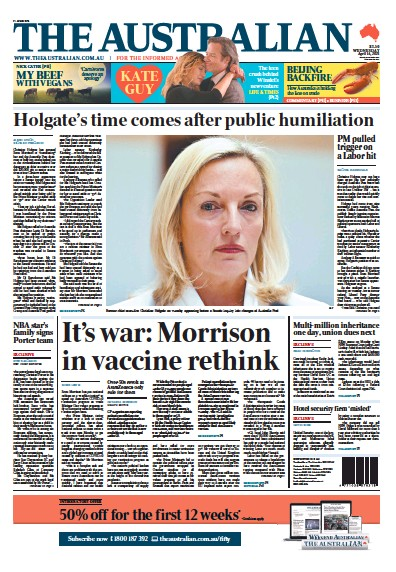 Front page of The Australian newspaper from Australia