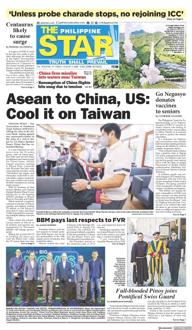 Front page of The Philippine Star newspaper from Philippines