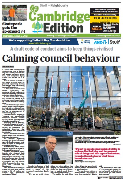 Front page of Cambridge Edition newspaper from New Zealand
