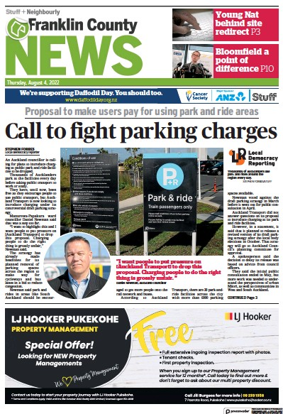 Front page of Franklin County News newspaper from New Zealand