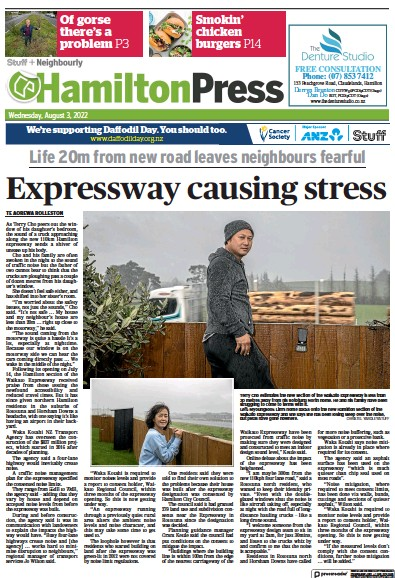 Front page of Hamilton Press newspaper from New Zealand